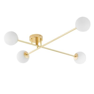 Lampa przysufitowa ASTRA 4 klosze kule białe stelaż złoty KASPA