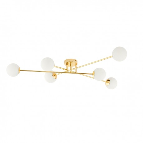 Ceiling lamp ASTRA 6 lampshades white balls gold frame KASPA