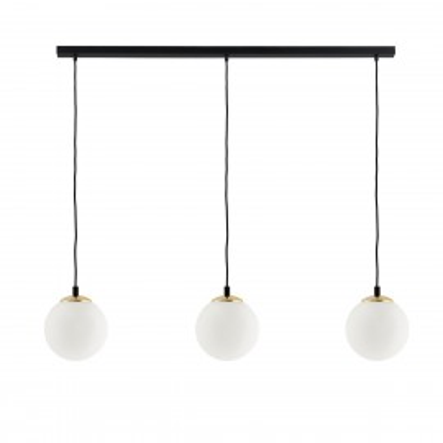 Sufitowa lampa wisząca BLER 3 listwa klosze kule białe, detale czarne i złote KASPA