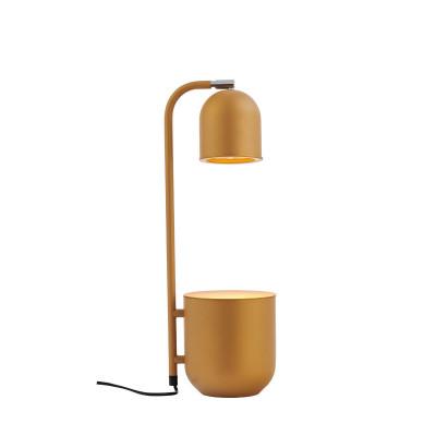 BOTANICA musztardowa lampa z doniczką, lampka stojąca na stolik i biurko KASPA