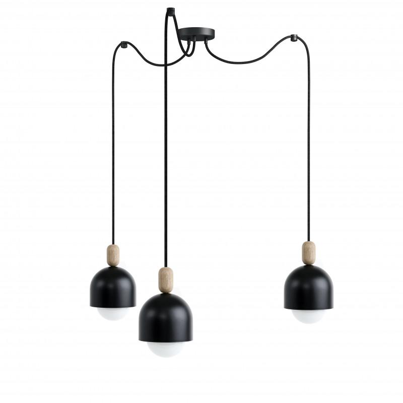 Loft Ovoi x 3 czarna strukturalna lampa wisząca