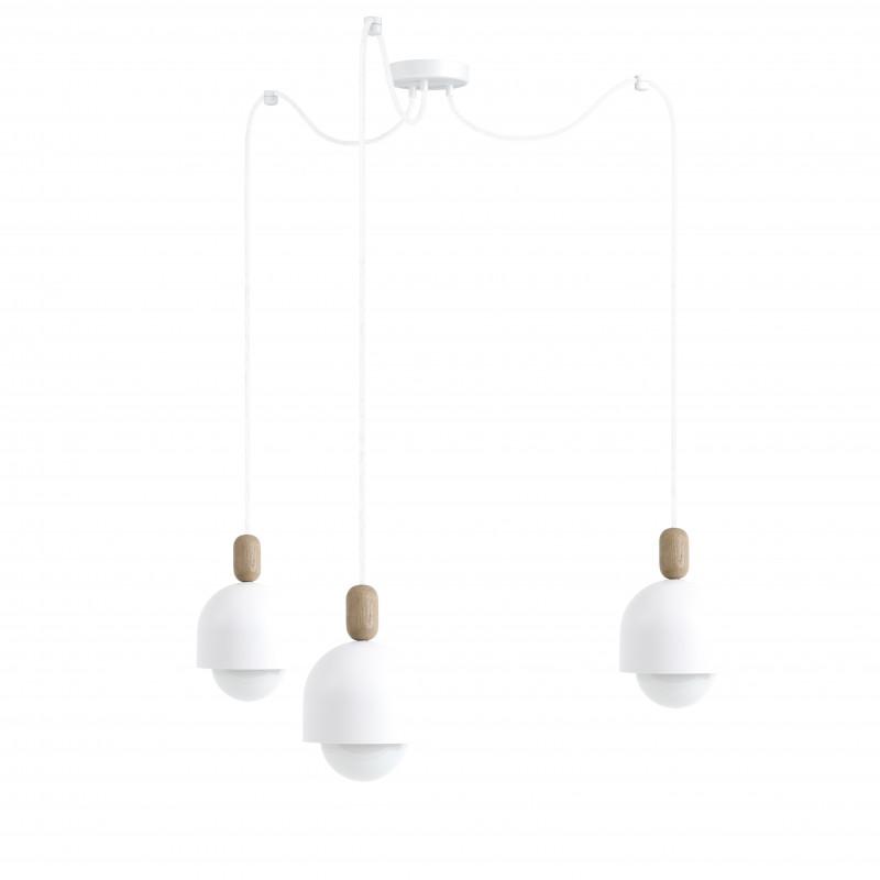 Loft Ovoi 3 biała strukturalna lampa wisząca KOLOROWE KABLE