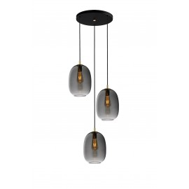Triple ceiling hanging lamp ONYX 3 graphite / smoke KASPA