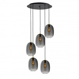 Ceiling hanging lamp ONYX 5 graphite / smoke KASPA