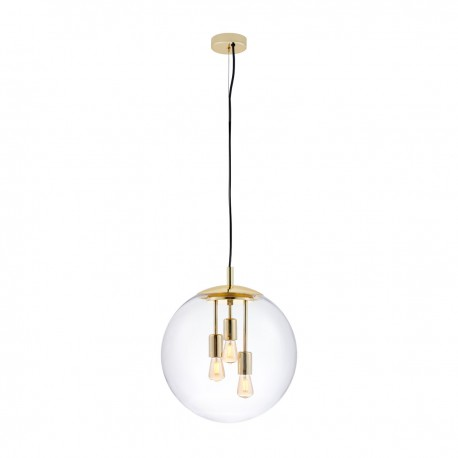 Ceiling hanging lamp SURYA transparent glass golden details KASPA