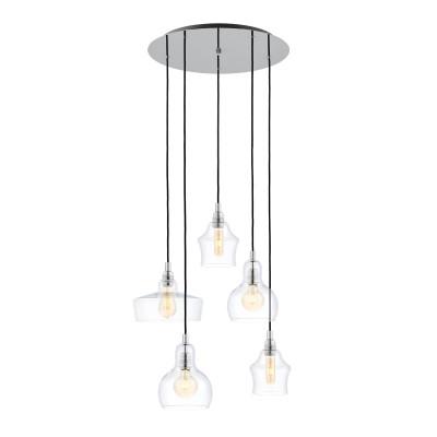 Longis plafond 5 Pendant Lamp Chrome KASPA