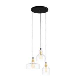 Longis Plafon 3 Pendant Light Rail Black KASPA
