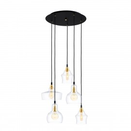 Longis Plafon 5 Pendant Light Rail Black KASPA