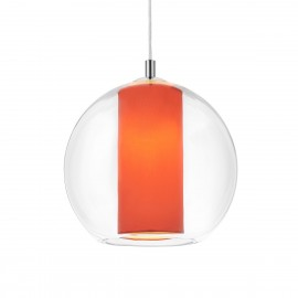 Ceiling hanging lamp Merida L coral lampshade in a transparent glass lampshade KASPA