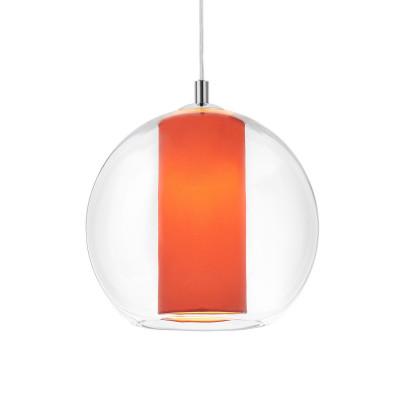 Sufitowa lampa wisząca Merida L koralowy abażur w transparentnym szklanym kloszu KASPA