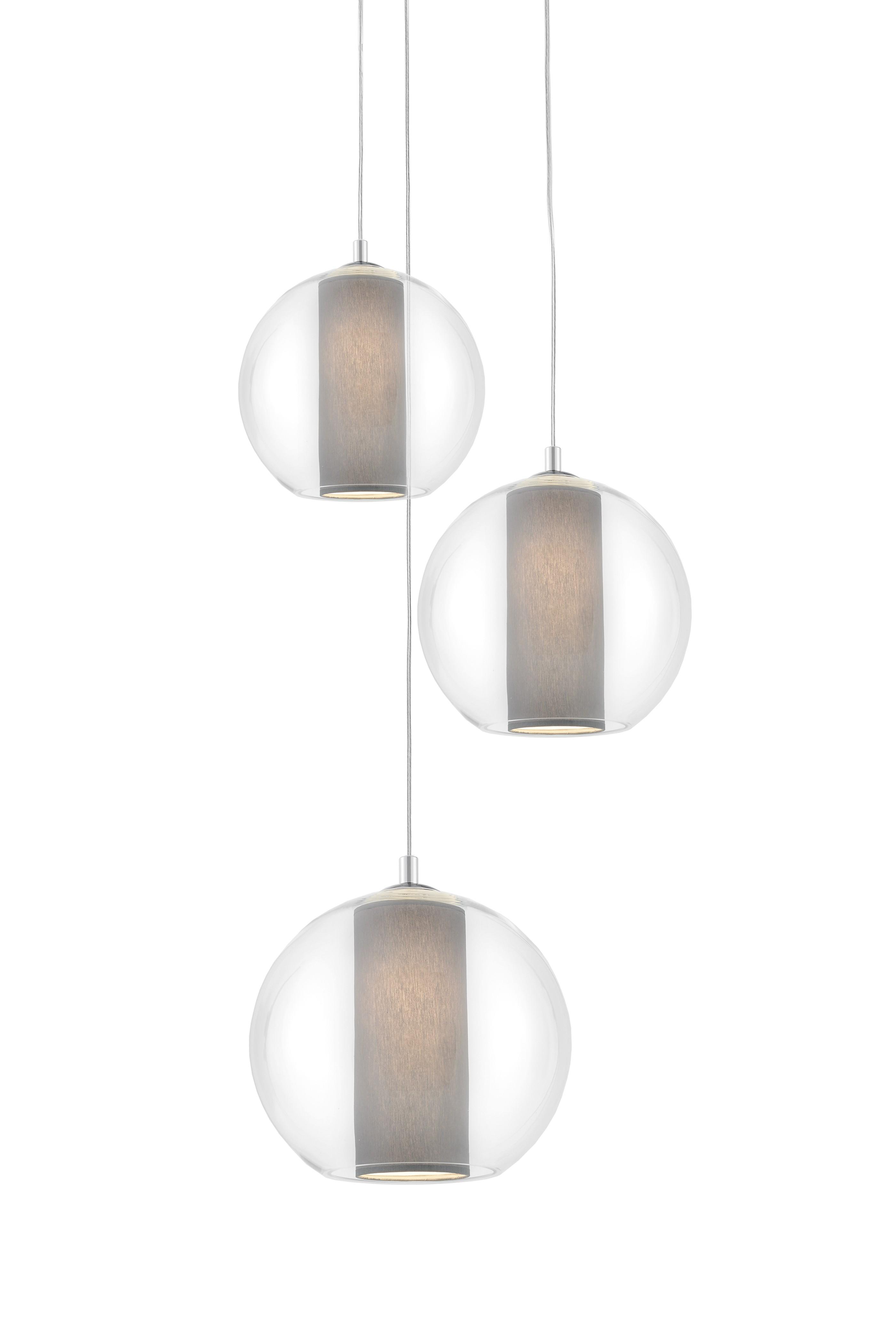 Sufitowa lampa wisząca Merida Plafon 3 szary abażur w