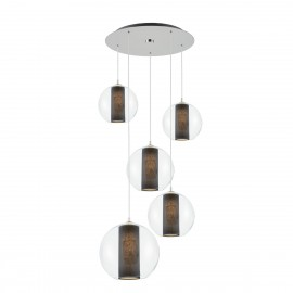 Ceiling hanging lamp Merida Plafon 5 black lampshade in a transparent glass lampshade KASPA
