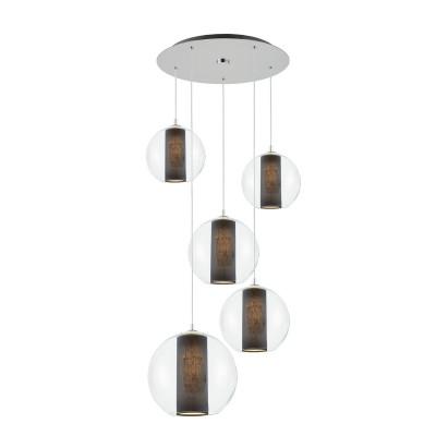 Sufitowa lampa wisząca Merida Plafon 5 czarny abażur w szklanym transparentnym kloszu KASPA