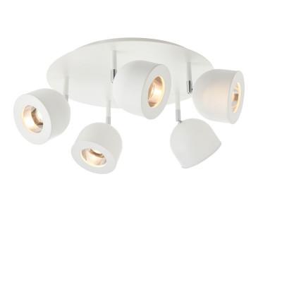 Biała lampa sufitowa, reflektor kierunkowy PILAR 5 KASPA