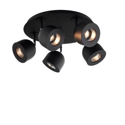 Czarna lampa sufitowa, reflektor kierunkowy PILAR 5 KASPA