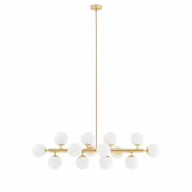 Gold pendant lamp  CUMULUS 1 gold chandelier fourteen white glass balls KASPA