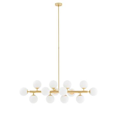 Złota lampa wisząca CUMULUS 1 złoty żyrandol - czternaście białych szklanych kul KASPA