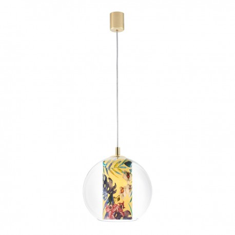 Ceiling hanging lamp Feria S yellow fabric shade by Alessandro Bini in a transparent glass lampshade KASPA