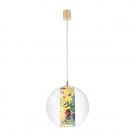 Ceiling hanging lamp Feria M yellow fabric shade by Alessandro Bini in a transparent glass lampshade KASPA