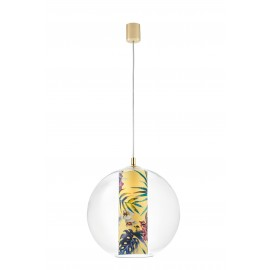 Ceiling hanging lamp Feria L yellow fabric shade by Alessandro Bini in a transparent glass lampshade KASPA
