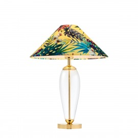 Feria1 floor lamp yellow fabric shade by Alessandro Bini on a glass base KASPA