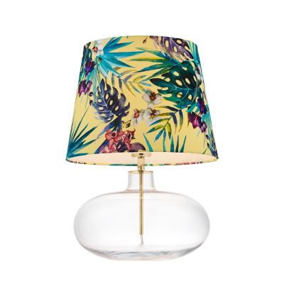 FERIA 2 floor lamp yellow fabric shade by Alessandro Bini on a glass base KASPA