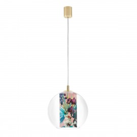 Ceiling hanging lamp Feria S pink fabric shade by Alessandro Bini in a transparent glass lampshade KASPA