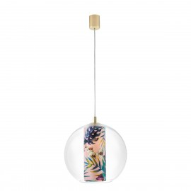 Ceiling hanging lamp Feria M pink fabric shade by Alessandro Bini in a transparent glass lampshade KASPA
