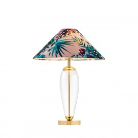 Feria1 floor lamp pink fabric shade by Alessandro Bini on a glass base KASPA