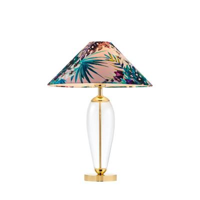 Lampa stojąca FERIA 1 różowy abażur z tkaniny projektu Alessandro Bini na szklanej podstawie KASPA