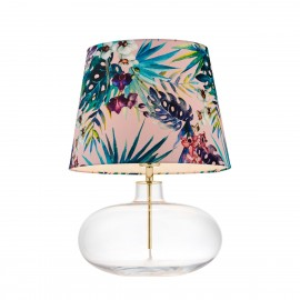 FERIA 2 floor lamp pink fabric shade by Alessandro Bini on a glass base KASPA