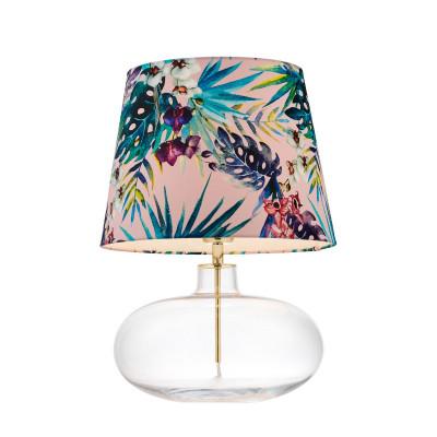 Lampa stojąca FERIA 2 różowy abażur z tkaniny projektu Alessandro Bini na szklanej podstawie KASPA