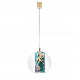 Ceiling hanging lamp Feria S green fabric shade by Alessandro Bini in a transparent glass lampshade KASPA