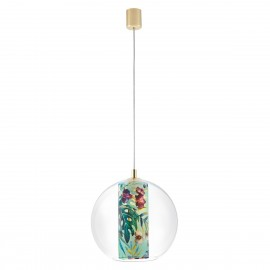 Ceiling hanging lamp Feria M green fabric shade by Alessandro Bini in a transparent glass lampshade KASPA