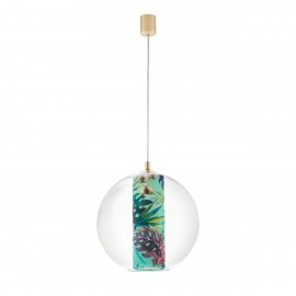 Ceiling hanging lamp Feria L green fabric shade by Alessandro Bini in a transparent glass lampshade KASPA