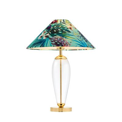 Lampa stojąca FERIA 1 zielony abażur z tkaniny projektu Alessandro Bini na szklanej podstawie KASPA