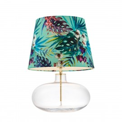 FERIA 2 floor lamp green fabric shade by Alessandro Bini on a glass base KASPA