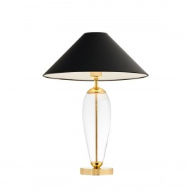 Black floor lamp REA black lampshade, transparent  glass and golden base KASPA