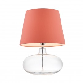 Floor lamp SAWA coral lampshade on a transparent glass base with chrome accessories KASPA