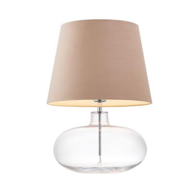 Lampa stojąca SAWA VELVET beżowy abażur na szklanej przezroczystej podstawie z dodatkami w kolorze chromu KASPA