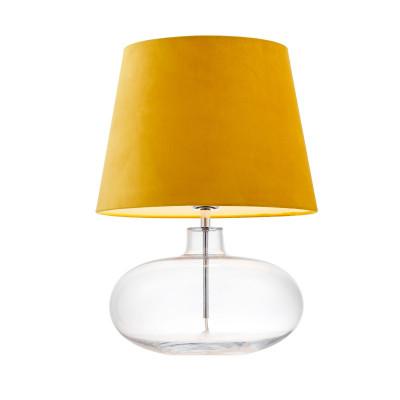 Lampa stojąca SAWA VELVET żółty aksamitny abażur na szklanej przezroczystej podstawie z dodatkami w kolorze chromu KASPA