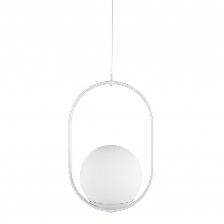 Ceiling lamp KOBAN B white oval frame and white glass lampshade UMMO