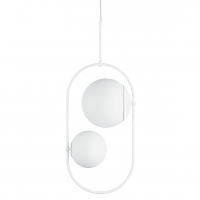 Podwójna sufitowa lampa wisząca KOBAN C biała owalna rama i białe szklane klosze UMMO