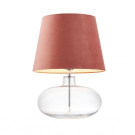 Floor lamp SAWA VELVET pink velvet lampshade on a transparent glass base with chrome accessories KASPA