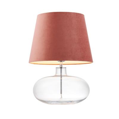 Lampa stojąca SAWA VELVET różowy aksamitny abażur na szklanej przezroczystej podstawie z dodatkami w kolorze chromu KASPA