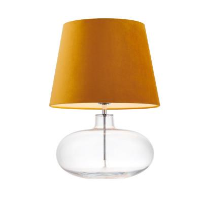 Lampa stojąca SAWA VELVET złoty aksamitny abażur na szklanej przezroczystej podstawie z dodatkami w kolorze chromu KASPA