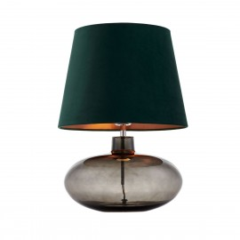 Floor lamp SAWA VELVET dark green copper velvet lampshade on a glass smoke base with chrome accessories KASPA