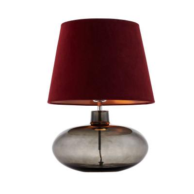 Lampa stojąca SAWA VELVET bordowo miedziany aksamitny abażur na szklanej dymnej podstawie z dodatkami w kolorze chromu KASPA