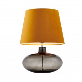 Floor lamp SAWA VELVET golden velvet lampshade on a glass smoke base with chrome accessories KASPA