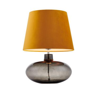 Lampa stojąca SAWA VELVET złoty aksamitny abażur na szklanej dymnej podstawie z dodatkami w kolorze chromu KASPA